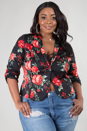 PLUS SIZE 3/4SLEEVE FLORAL JACKET