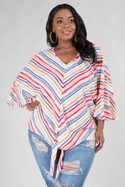PLUS SIZE 3/4 FLAIRED SLEEVE COMFORTABLE TOP