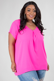 PLUS SIZE V-NECK SHORT SLEEVE SHEERE TOP