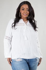 PLUS SIZE LONG SLEEVE CRISSCROSS AND LACED DETAIL TOP