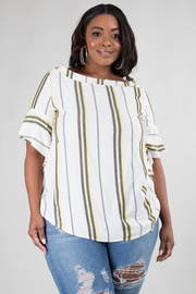 PLUS SIZE BOAT NECK FLAIRED SLEEVE STRIPE TOP