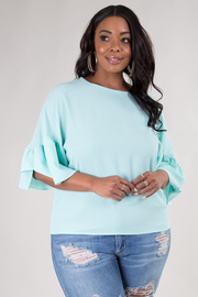 PLUS SIZE ROUND NECK RUFFLED SLEEVE TOP