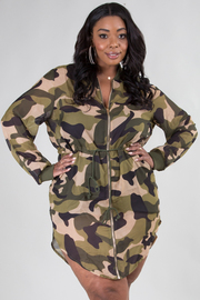 PLUS SIZE ARMY MINI DRESS