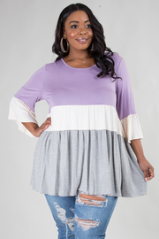 PLUS SIZE ROUND NECK 3/4SLEEVE COMFORTABLE TOP
