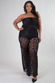 PLUS SIZE Strapless see through jumpsuit