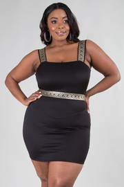 PLUS SIZE SLEEVELESS TRIM POINT FITTED BASIC DRESS