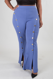 PLUS SIZE FRONT BOTTOM SLIT POINTED BUTTON PANTS