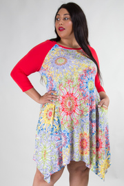 PLUS SIZE BOAT NECK SOLID 3/4 SLEEVE DRESS WITH POCKET