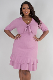 PLUS SIZE SHORT SLEEVE BOW TIE LAYERED BOTTOM DRESS