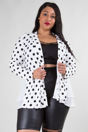 PLUS SIZE POLKA DOTS AND SOLID JACKET