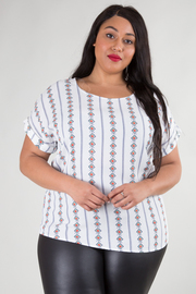 PLUS SIZE ROUND NECK FOLDED DETAIL SHORT SLEEVE  TOP