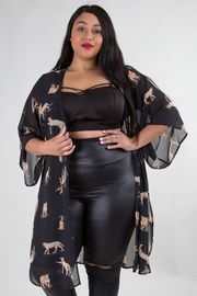 PLUS SIZE LEOPARD SHEERE CARDIGAN