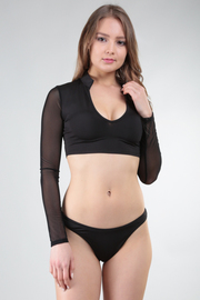 ROUND NECK LONG SLEEVE SHEER SOLID CROP TOP AND BIKINI SET