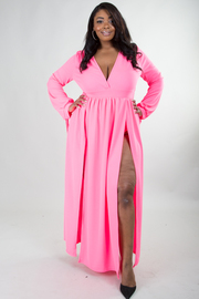 PLUS SIZE TWO SLITS MAXI DRESS