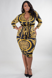 PLUS SIZE 3/4 SLEEVE EXOTIC PRINTED BELTED DRESS