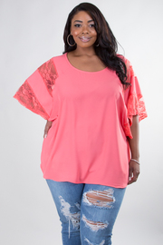 PLUS SIZE BOAT NECK SHORT SLEEVE TOP WITH LACED DETAIL