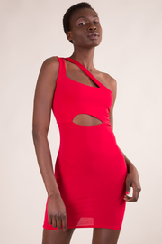 ONE SHOULDER CUT OUT DETAIL FITTED MINI DRESS