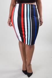 Multi stripe print pencil skirt