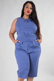 ROUND NECK SLEEVELESS WITH POCKET SOLID JUMPSUIT