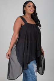 Plus size TUBE SIDE CASCADE TOP