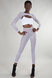 BOAT NECK LONG SLEEVE MESH CUT OUT JUMPSUIT
