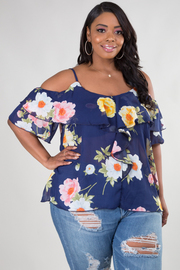 PLUS SIZE STRAP SHOULDER FLOUNCED TOP