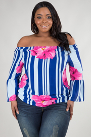 PLUS SIZE OFF SHOULDER RUFFLED POINT LONG SLEEVE TOP