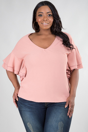 Plus Size V-Neck Top With Short Ruffle Sleeve Top
