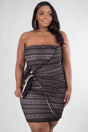 PLUS SIZE OVERLAPPING BOW TIE MINI DRESS