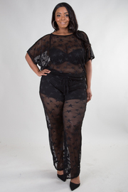 PLUS SIZE SEE THROUGH SHORT SLEEVE TOP AND PANTS SET