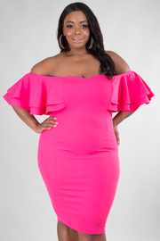 PLUS SIZE OFF SHOULDER RUFFLED SHORT SLEEVE MIINI DRESS
