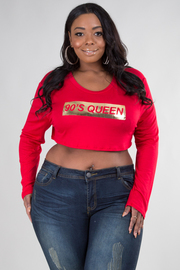 PLUS SIZE ROUND NECK LONG SLEEVE CROP TOP