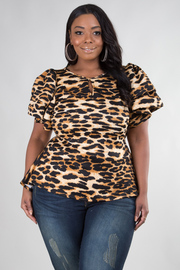 PLUS SIZE HIGH LOW LEOPARD PUFF TOP