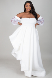 OFF SHOULDER SEE THROUGH PLUS SIZE LONG SLEEVE WITHE TACK ASYMMETRIC LONG DRESS