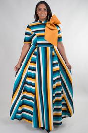 PLUS SIZE Elegant multi striped maxi dress with ribbon point