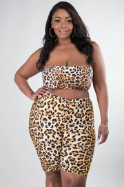 PLUS SIZE LEOPARD TUBE CROP TOP AND SHORTS SET
