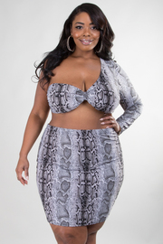 PLUS SIZE ONE SHOULDER CROP TOP AND SKIRT SET
