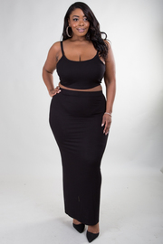 PLUS SIZE STRAPE SHOULDER TOP AND MAXI SKIRT SET