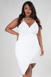 Plus Size Surplice Overlap Sexy Club Bodycon Dress