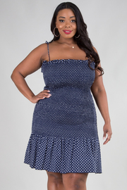 PLUS SIZE  STRAP TIE SHOULDER POLKA DOTS MINI DRESS