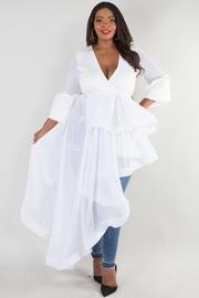 DEEP V-NECK BELL SLEEVE UNBALANCE CASCADE DRESS
