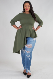 Plus Size Long Sleeve Asymmetrical Pointed Diagonal Hem Top