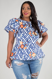 PLUS SIZE ROUND NECK SHORT PUFF SLEEVE TOP