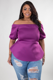 PLUS SIZE OFF SHOULDER SHORT SLEEVE SOLID TOP