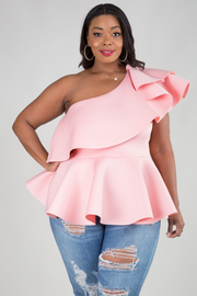 PLUS SIZE ONE SHOULDER RUFFLED LAYER WITH PEPLUM TOP