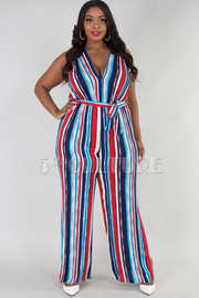PLUS SIZE SLEEVELESS DEEP V-NECK STRIPE JUMPSUIT