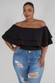 PLUS SIZE OFF SHOULDER TWO LAYERS FLOUNCED TOP