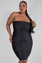 PLUS SIZE SHINNY FITTED TUBE DRESS