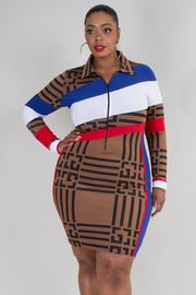 PLUS SIZE LONG SLEEVE COLLAR MINI DRESS