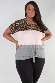 PLUS SIZE ROUND NECK SHORT SLEEVE TOP